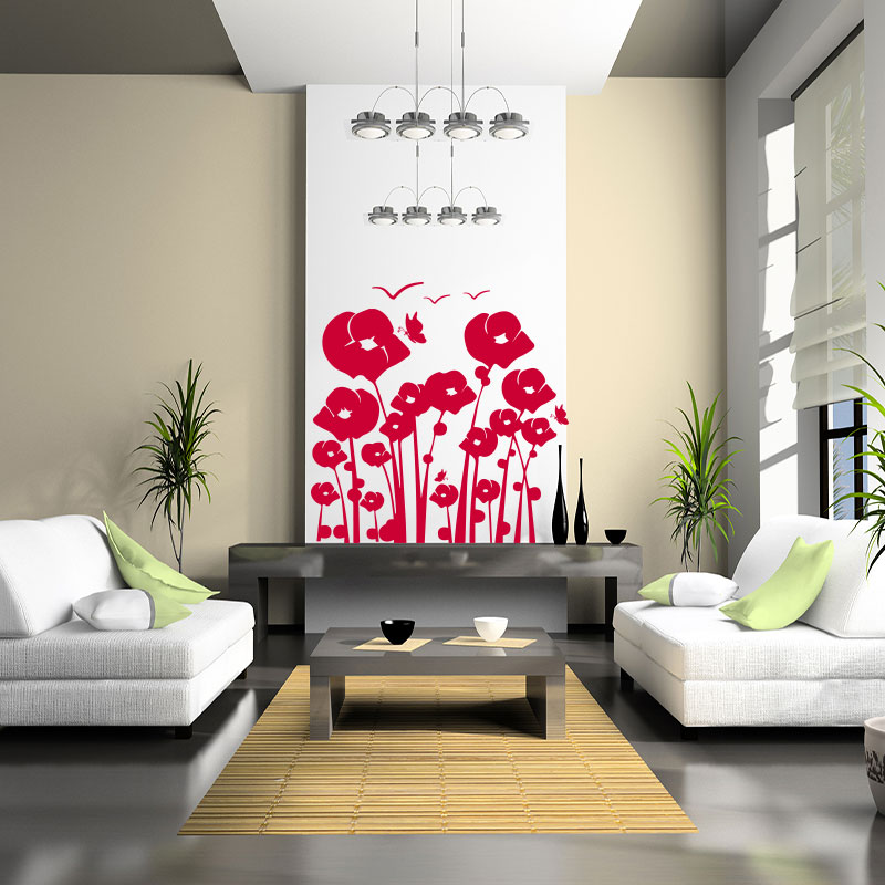 sticker fleurs d 39 horizon et ses papillons stickers nature fleurs ambiance sticker. Black Bedroom Furniture Sets. Home Design Ideas