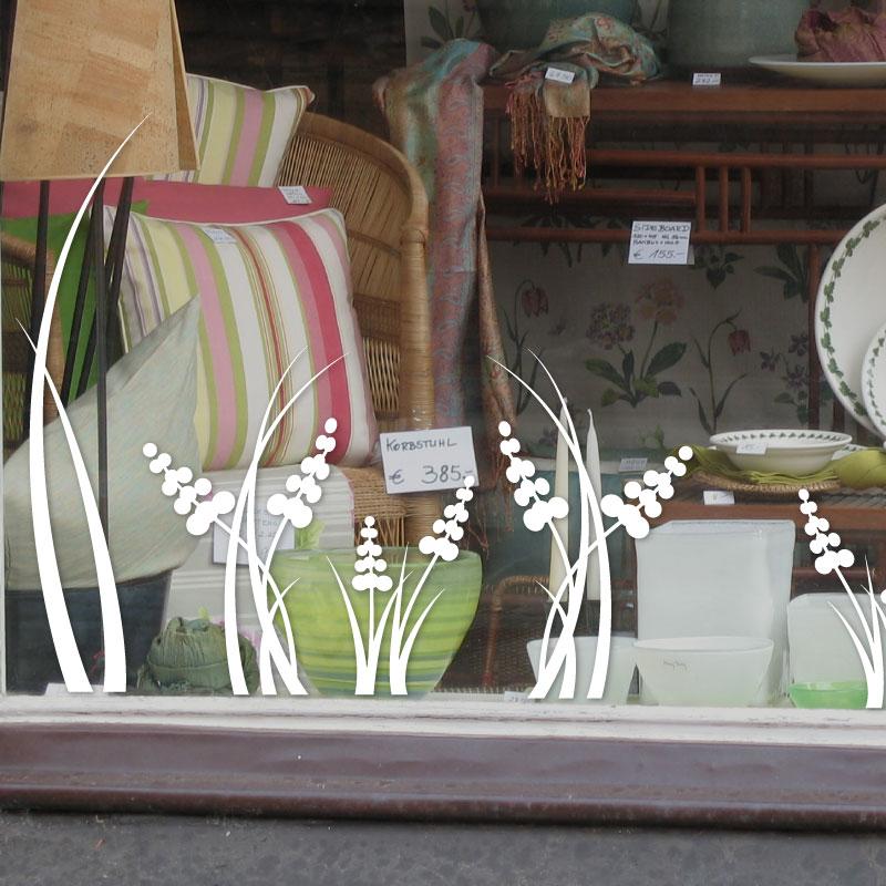 Stickers pour vitrines de magasins sticker fleurs de printemps 2 ambiance - Decoration vitrine printemps ...