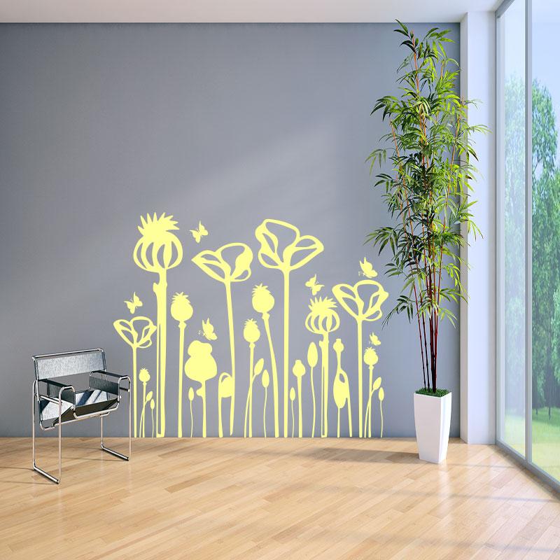 sticker fleurs des campagnes et leurs papillons stickers nature fleurs ambiance sticker. Black Bedroom Furniture Sets. Home Design Ideas