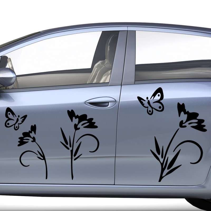 stickers et autocollants voiture sticker fleurs et papillons ambiance. Black Bedroom Furniture Sets. Home Design Ideas