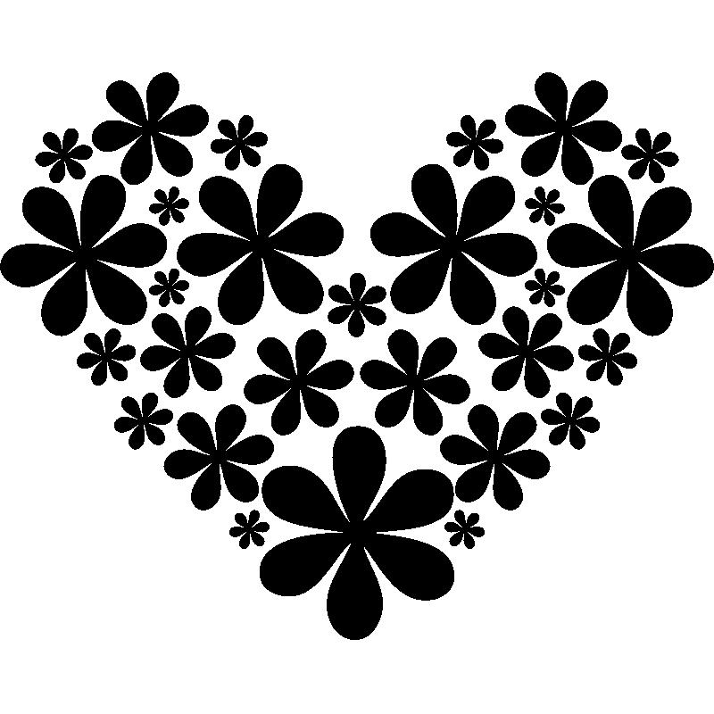 sticker fleurs formant un coeur stickers nature fleurs ambiance sticker. Black Bedroom Furniture Sets. Home Design Ideas