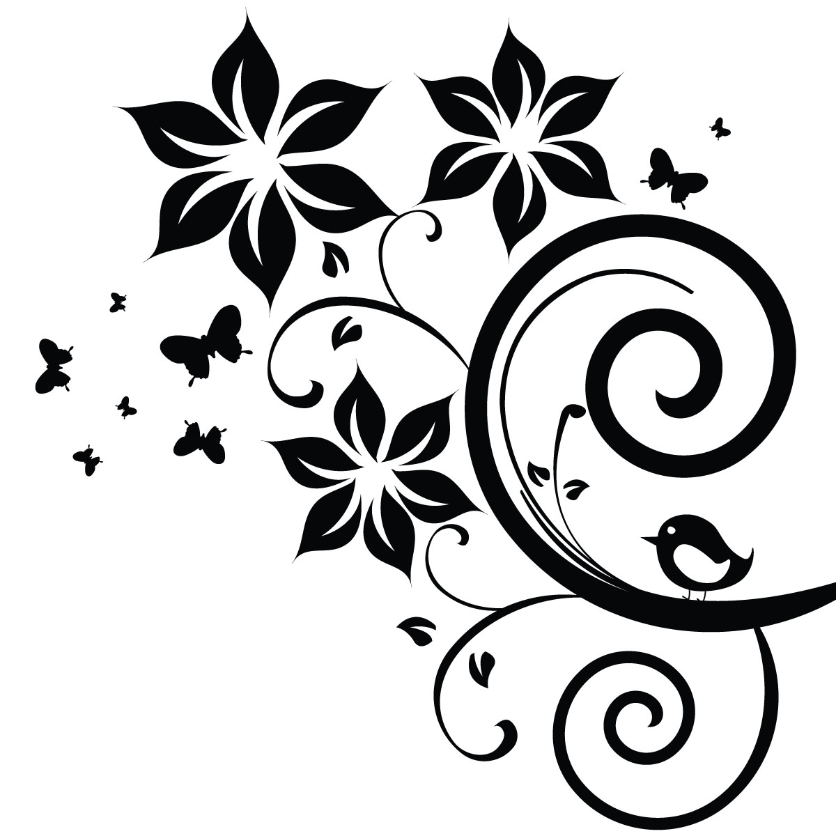 Sticker fleurs papillons et oiseau stickers nature - Deco printempsidees avec fleurs et motif floral ...