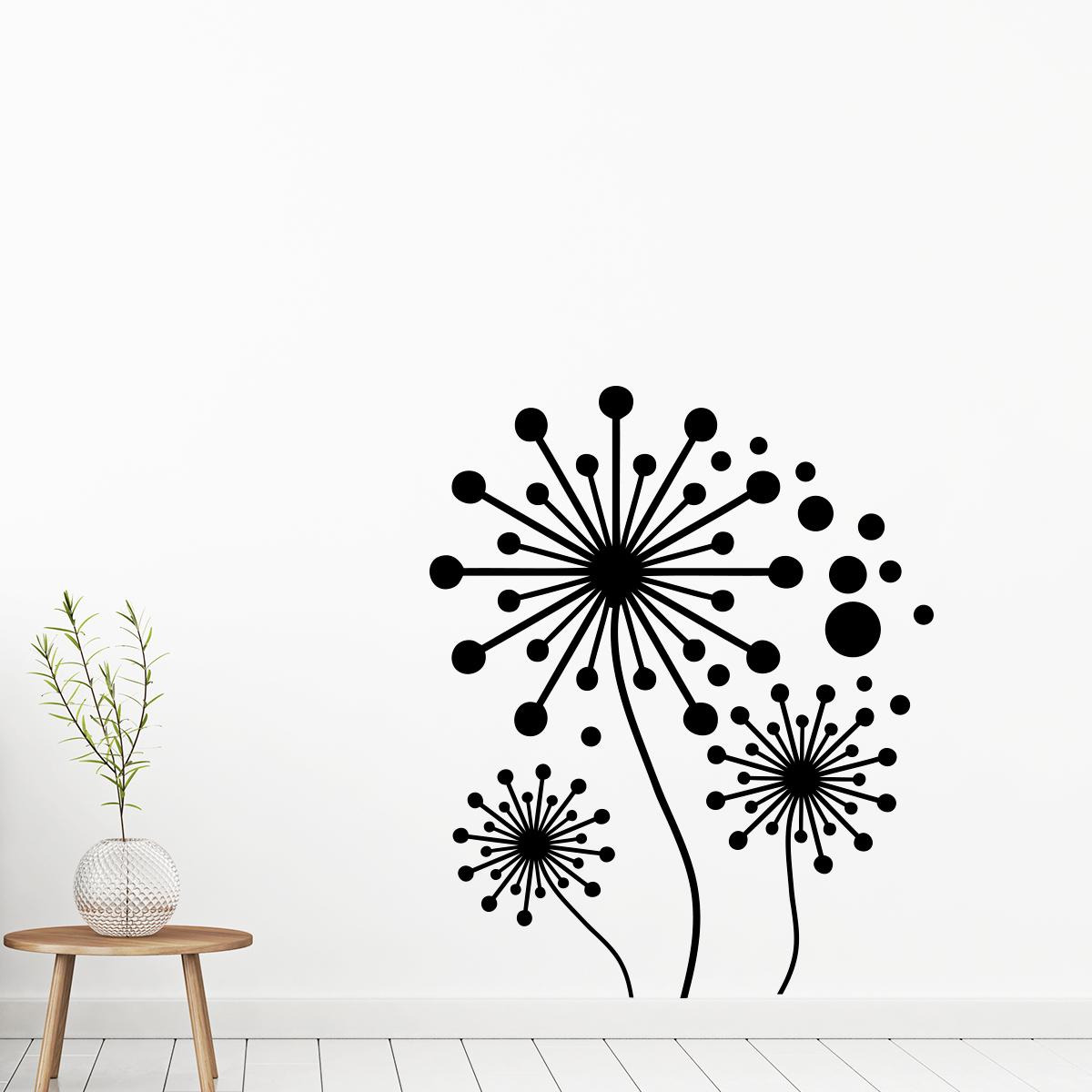 sticker fleurs pissenlits artistique stickers art et design artistiques ambiance sticker. Black Bedroom Furniture Sets. Home Design Ideas