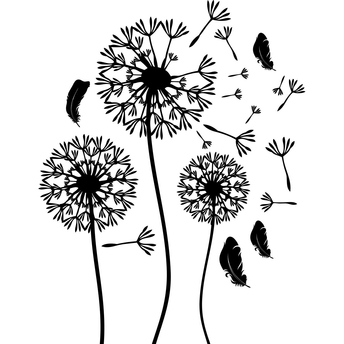 sticker fleurs pissenlits et plumes volantes stickers nature fleurs ambiance sticker. Black Bedroom Furniture Sets. Home Design Ideas