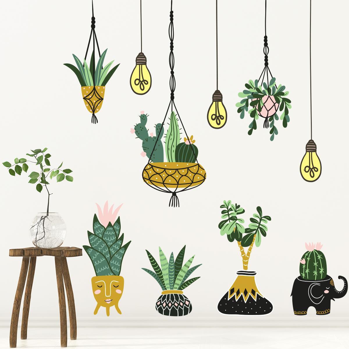 sticker fleurs plantes suspendues et pots stickers nature fleurs ambiance sticker. Black Bedroom Furniture Sets. Home Design Ideas