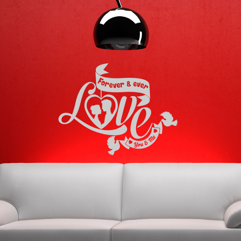 Sticker forever and ever love stickers chambre amour for Stickers chambre love