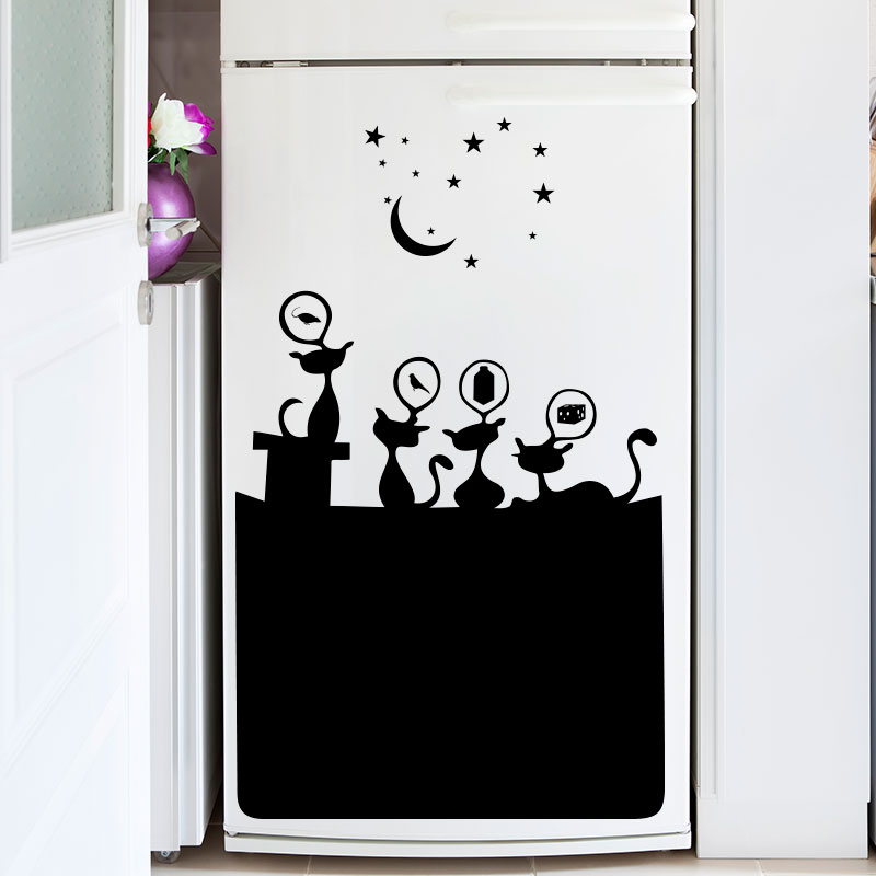 sticker frigo chats gourmants stickers cuisine ambiance sticker. Black Bedroom Furniture Sets. Home Design Ideas