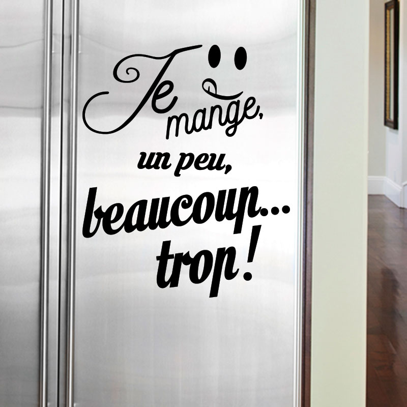 sticker frigo citation je mange un peu beaucoup stickers cuisine ambiance sticker. Black Bedroom Furniture Sets. Home Design Ideas