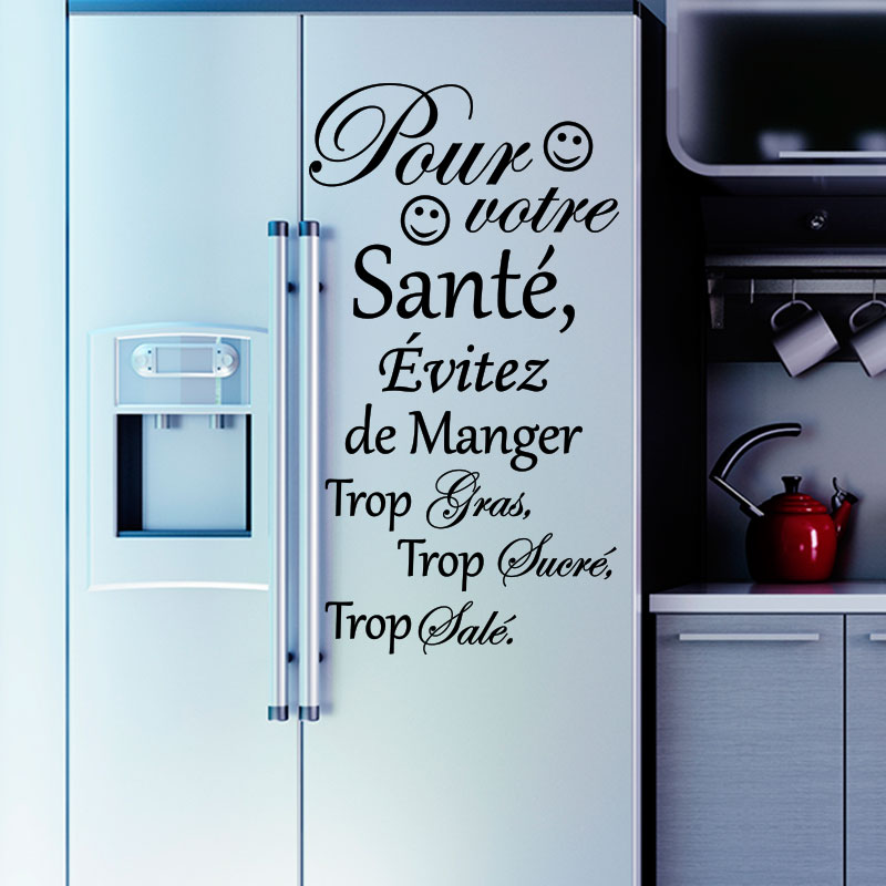 sticker frigo citation pour votre sant stickers citations ambiance sticker. Black Bedroom Furniture Sets. Home Design Ideas