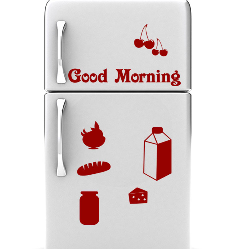 sticker frigo good morning stickers cuisine ambiance. Black Bedroom Furniture Sets. Home Design Ideas