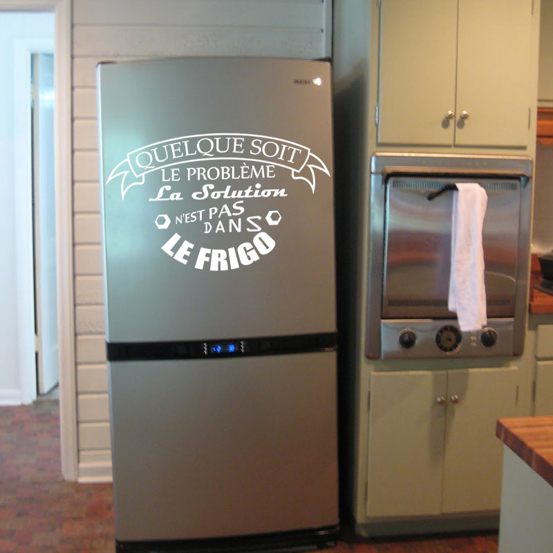 sticker frigo la solution n 39 est pas dans le frigo stickers cuisine ambiance sticker. Black Bedroom Furniture Sets. Home Design Ideas