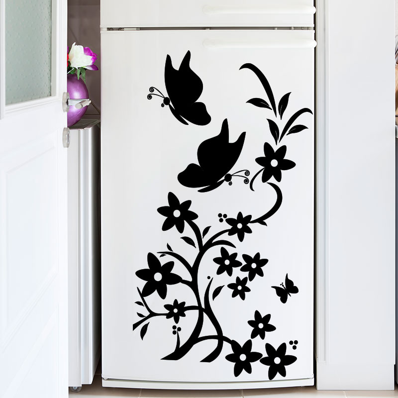sticker frigo papillons et fleurs stickers cuisine. Black Bedroom Furniture Sets. Home Design Ideas