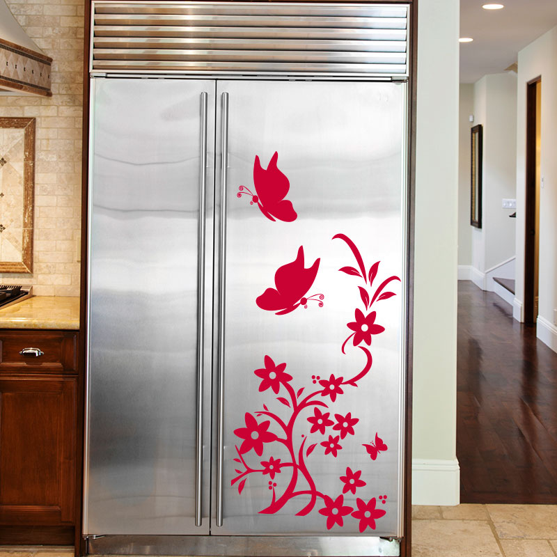 sticker frigo papillons et fleurs stickers cuisine ambiance sticker. Black Bedroom Furniture Sets. Home Design Ideas