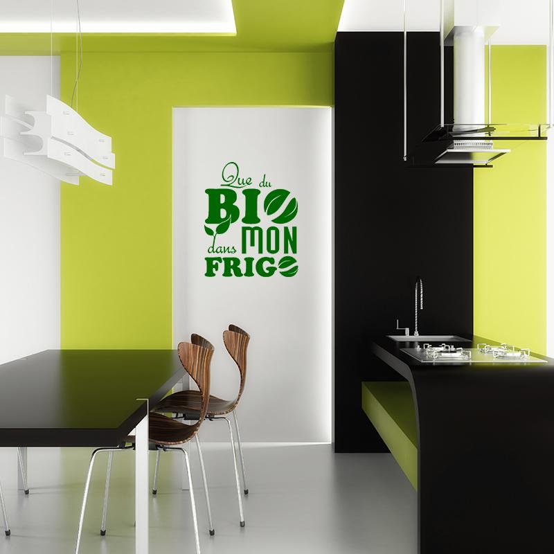 Sticker frigo que du bio dans mon frigo stickers cuisine - Stickers frigo 2 portes ...