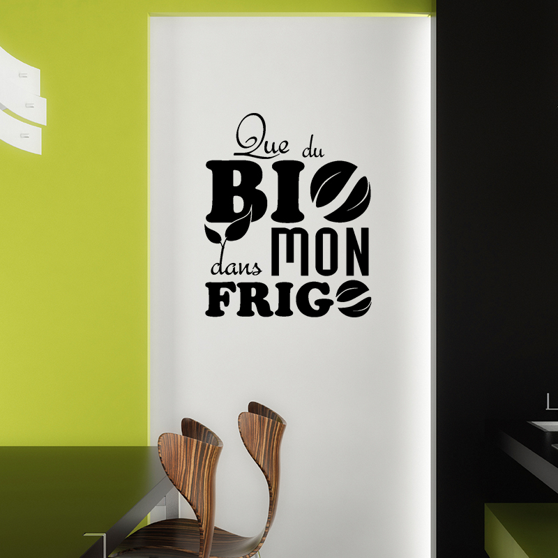 sticker frigo que du bio dans mon frigo stickers cuisine. Black Bedroom Furniture Sets. Home Design Ideas