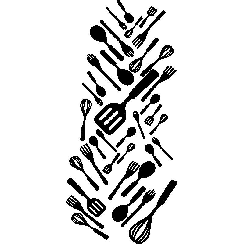 Sticker frigo ustensiles de cuisine stickers cuisine for Stickers de cuisine
