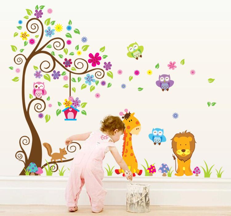 Sticker g ant arbre fleurs girafe et lion stickers for Stickers pared bebe