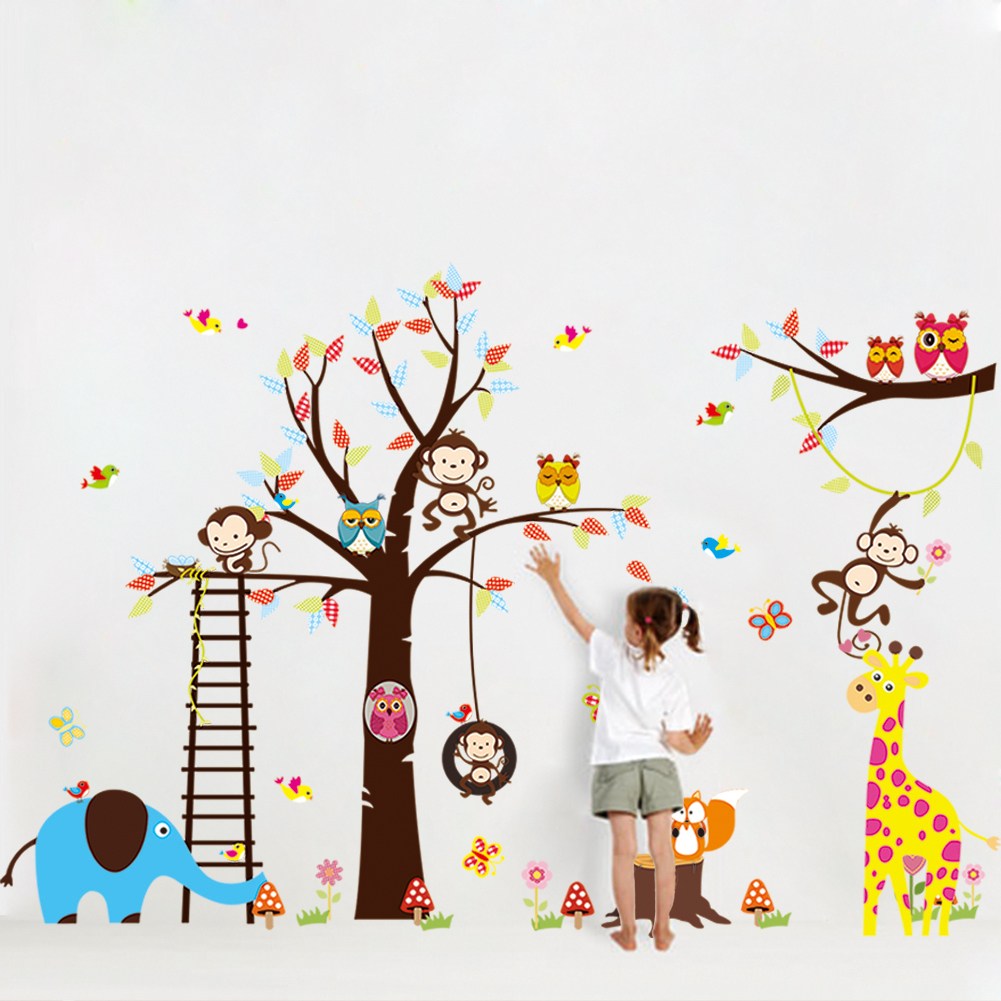 sticker g ant pour enfant arbre singe girafe et oiseaux stickers nature arbres ambiance. Black Bedroom Furniture Sets. Home Design Ideas