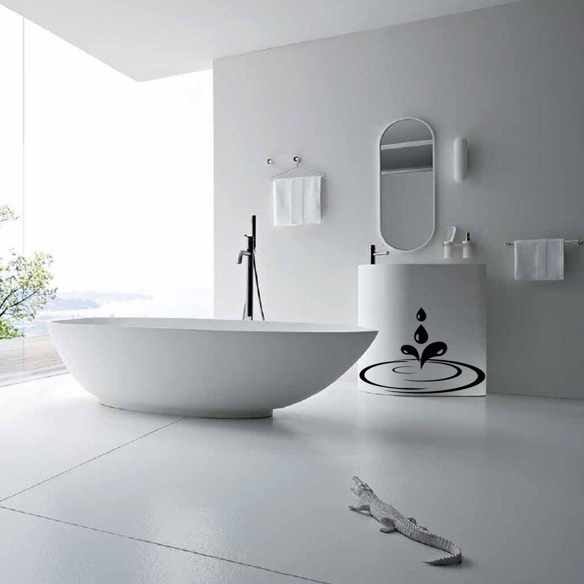 Sticker gouttes et flaque d 39 eau stickers salle de bain - Stickers salle de bains ...