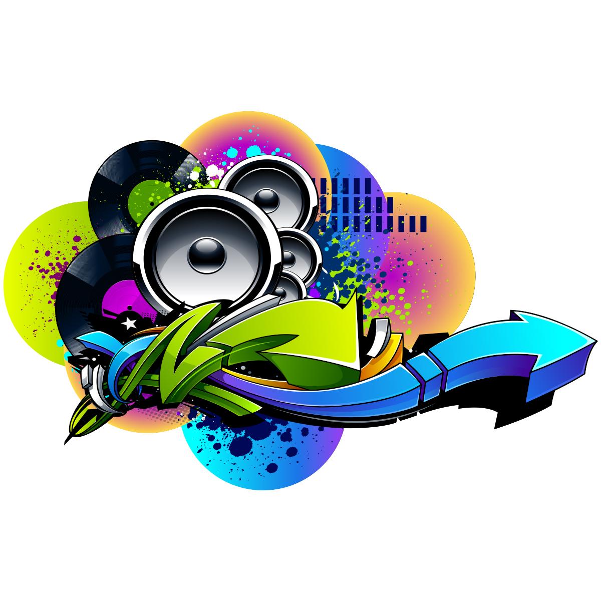 sticker graffiti f te de la musique baffles urbain stickers musique cinema musique. Black Bedroom Furniture Sets. Home Design Ideas