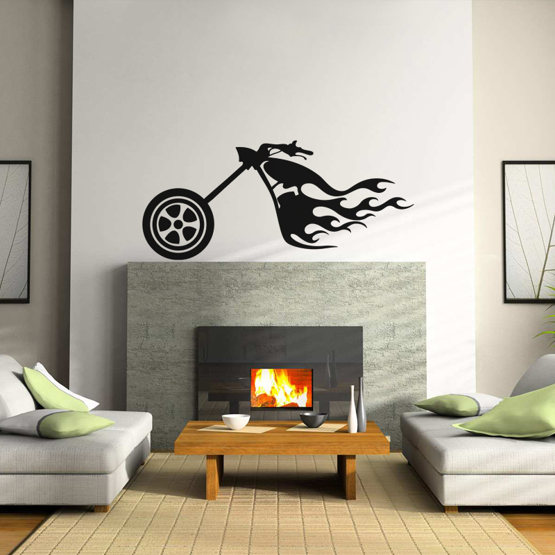 stickers de silhouettes et personnages sticker devant d 39 une harley ambiance. Black Bedroom Furniture Sets. Home Design Ideas
