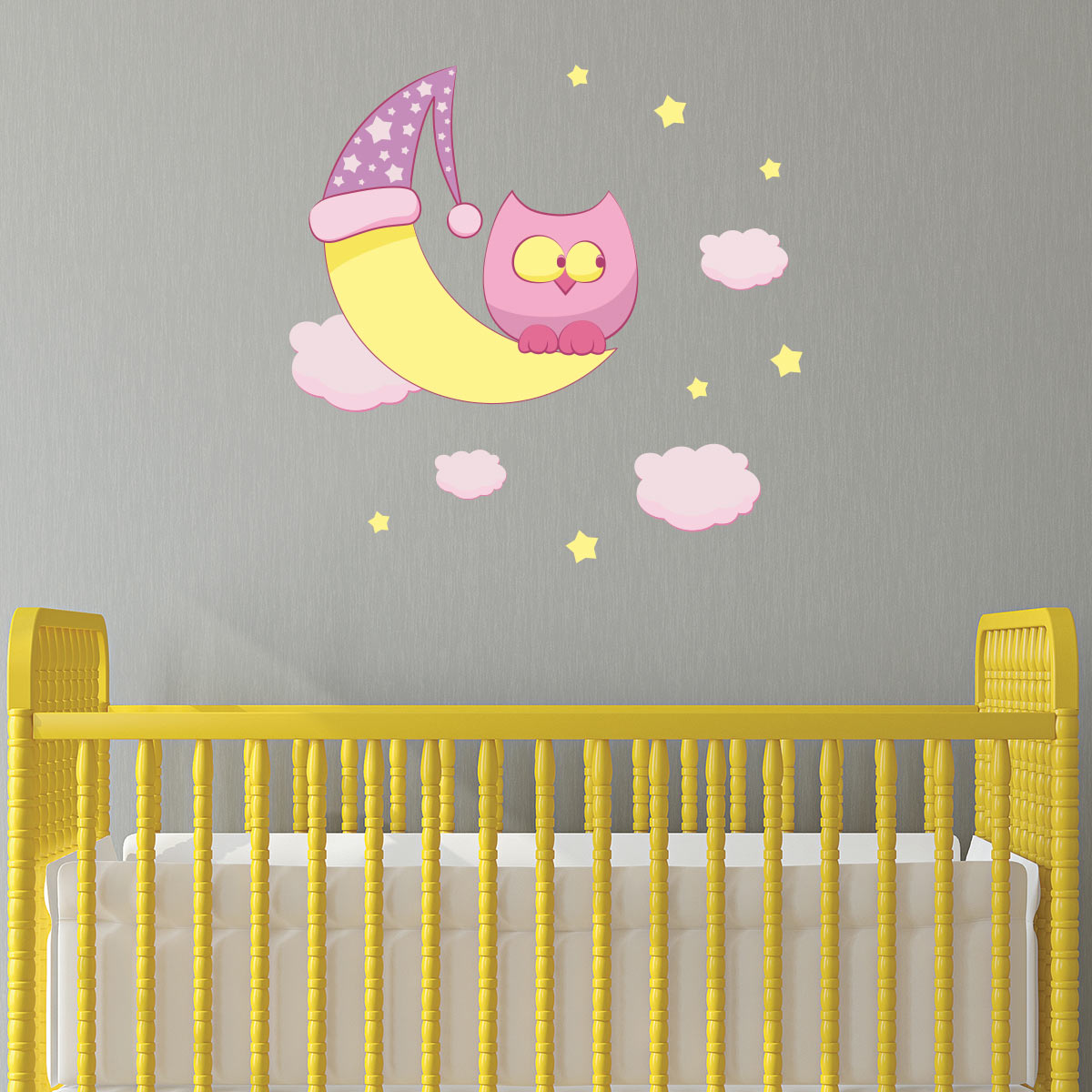 sticker hibou veilleur de nuit stickers chambre enfants chambre b b ambiance sticker. Black Bedroom Furniture Sets. Home Design Ideas