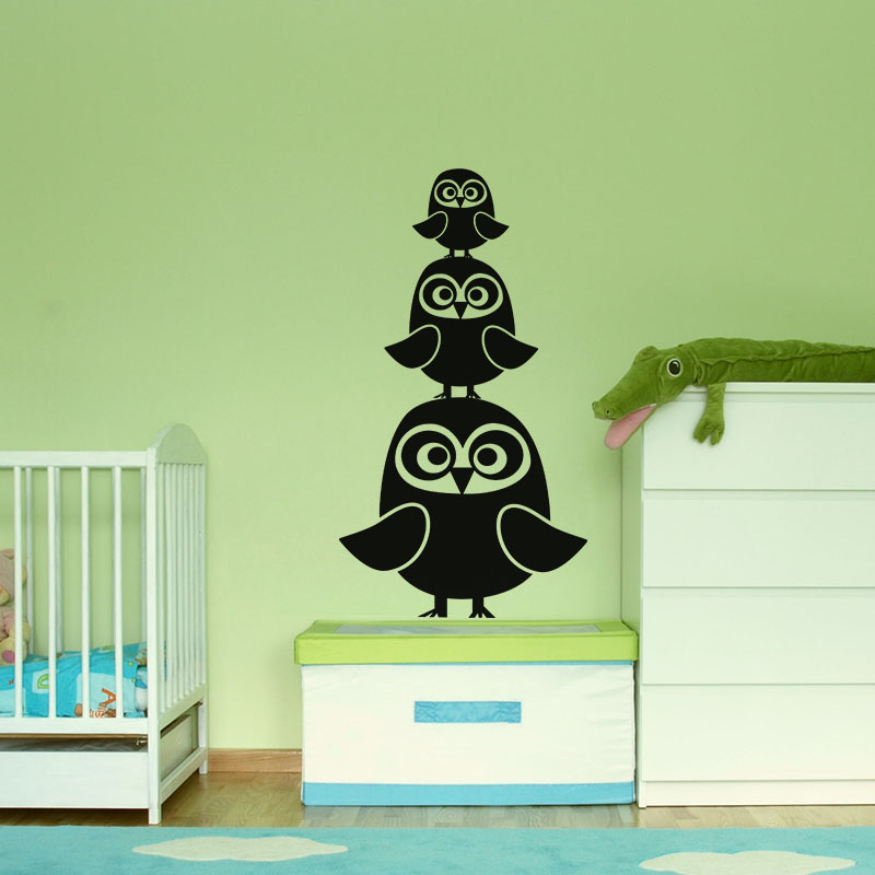 sticker hiboux en famille stickers animaux oiseaux ambiance sticker. Black Bedroom Furniture Sets. Home Design Ideas