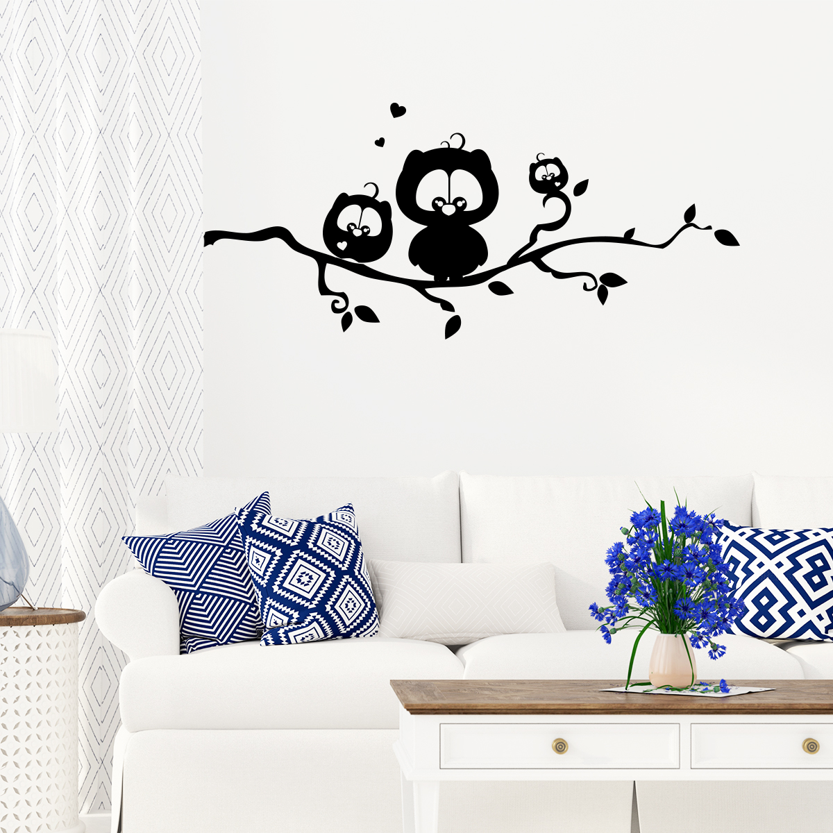 sticker hiboux mignons de la nuit stickers nature arbres ambiance sticker. Black Bedroom Furniture Sets. Home Design Ideas