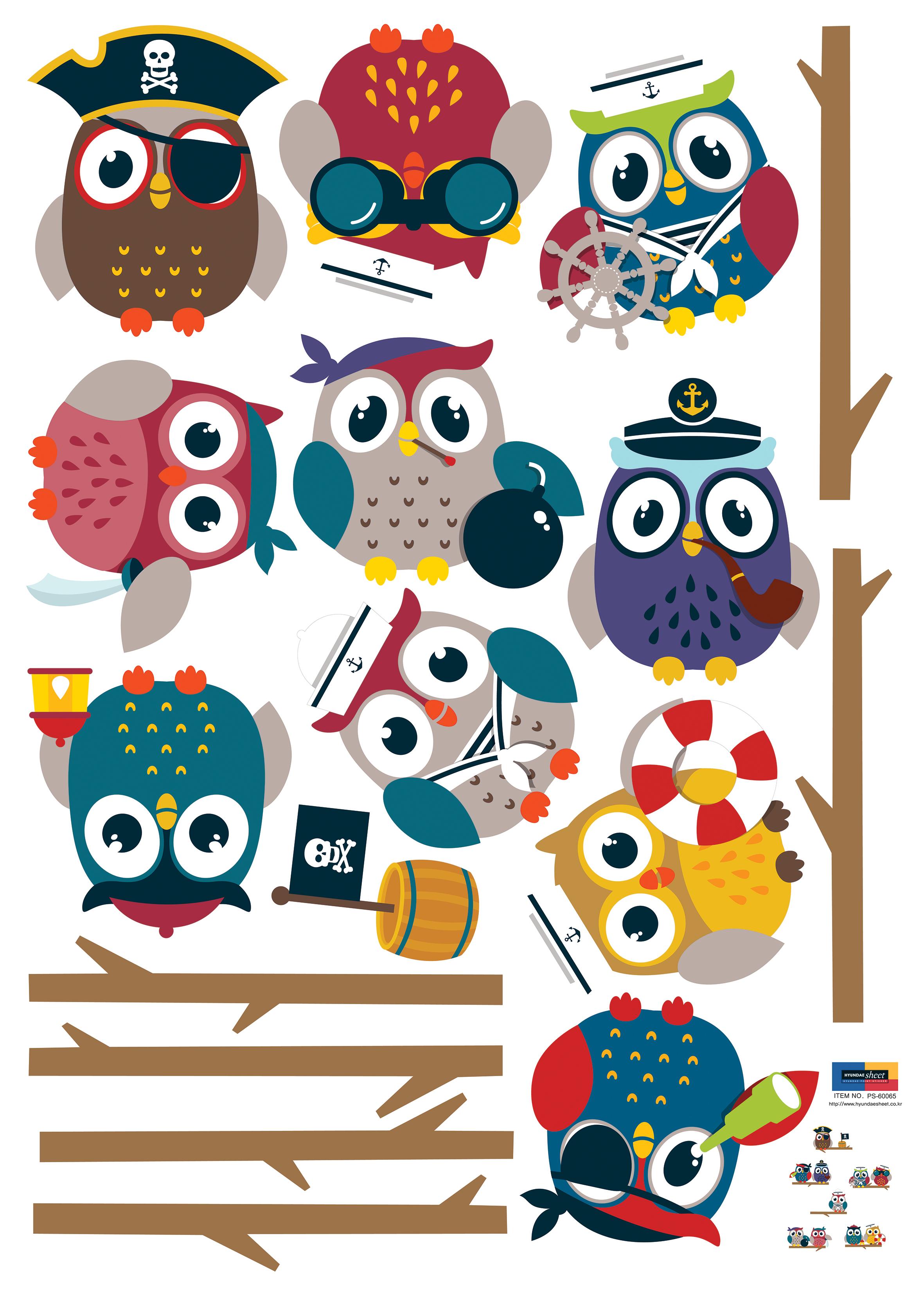 Sticker hiboux pirates sur branches – Stickers Animaux Oiseaux