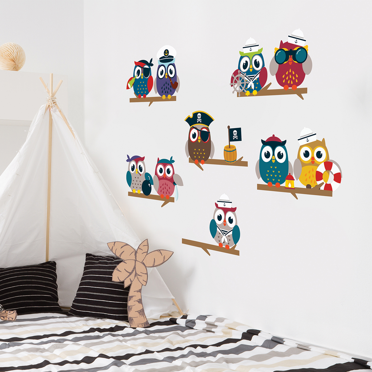 sticker hiboux pirates sur branches stickers animaux oiseaux ambiance sticker. Black Bedroom Furniture Sets. Home Design Ideas