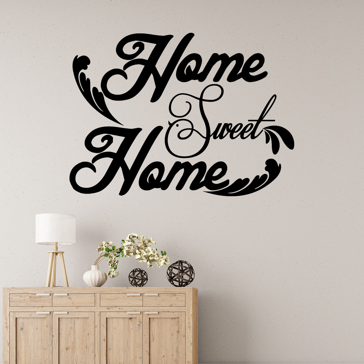 sticker home sweet home avec feuilles stickers citations anglais ambiance sticker. Black Bedroom Furniture Sets. Home Design Ideas