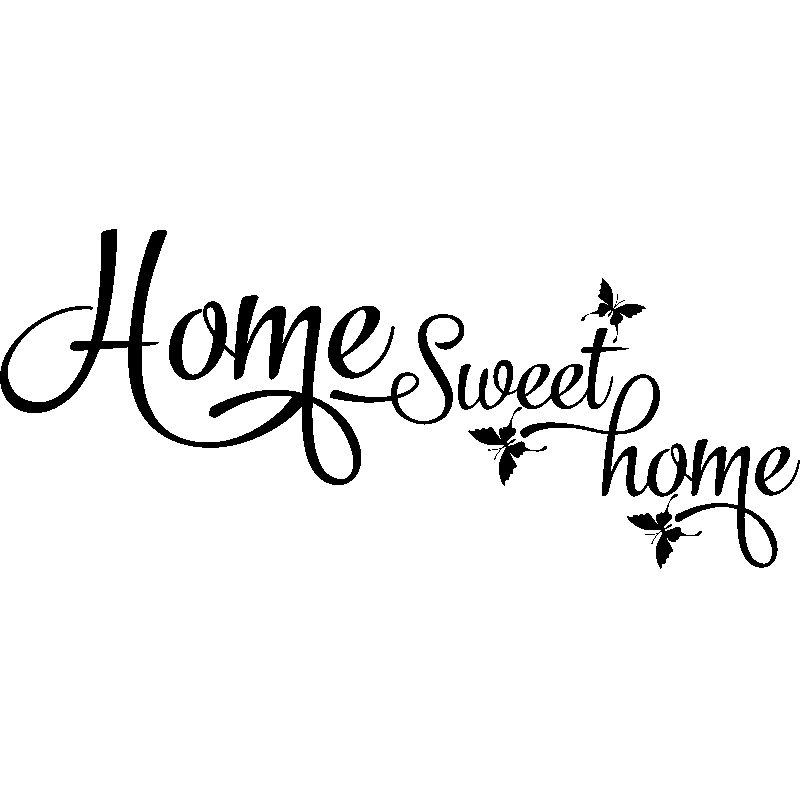 sticker home sweet home et papillons stickers citations anglais ambiance sticker. Black Bedroom Furniture Sets. Home Design Ideas