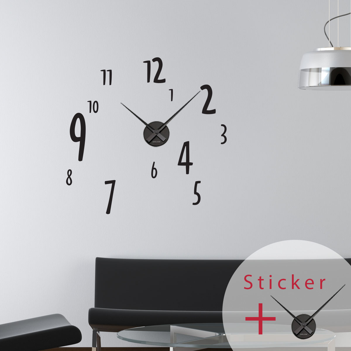 Sticker horloge chiffres stickers horloges ambiance for Decoration murale a coller