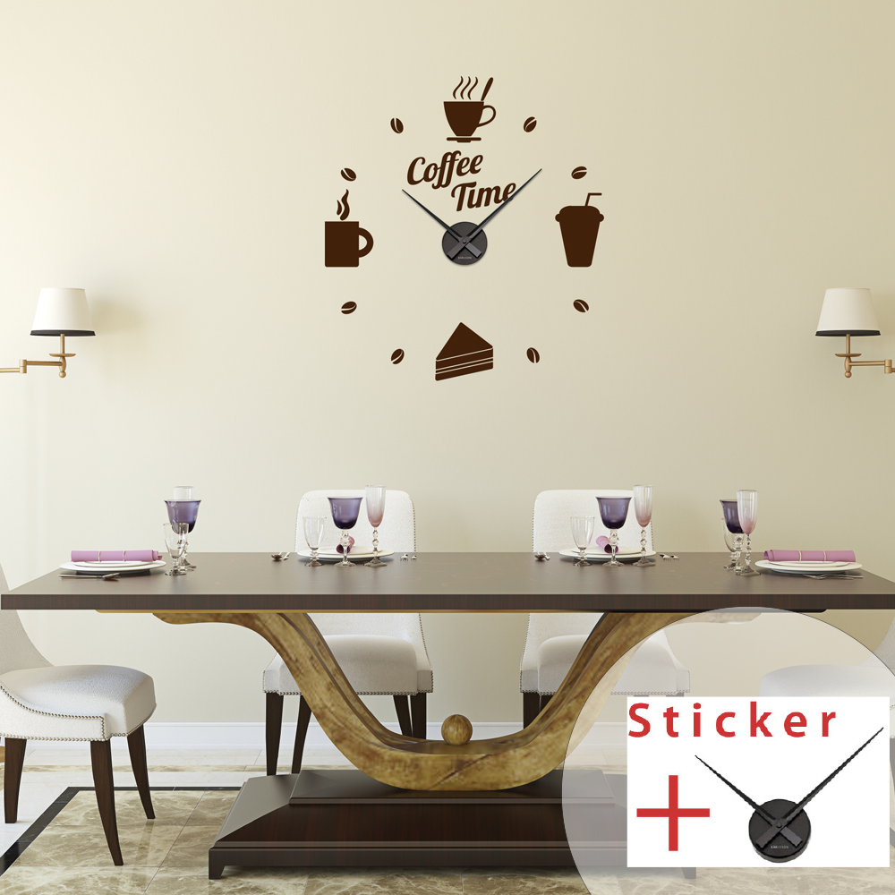 sticker horloge citation coffee time cuisine design ambiance sticker. Black Bedroom Furniture Sets. Home Design Ideas