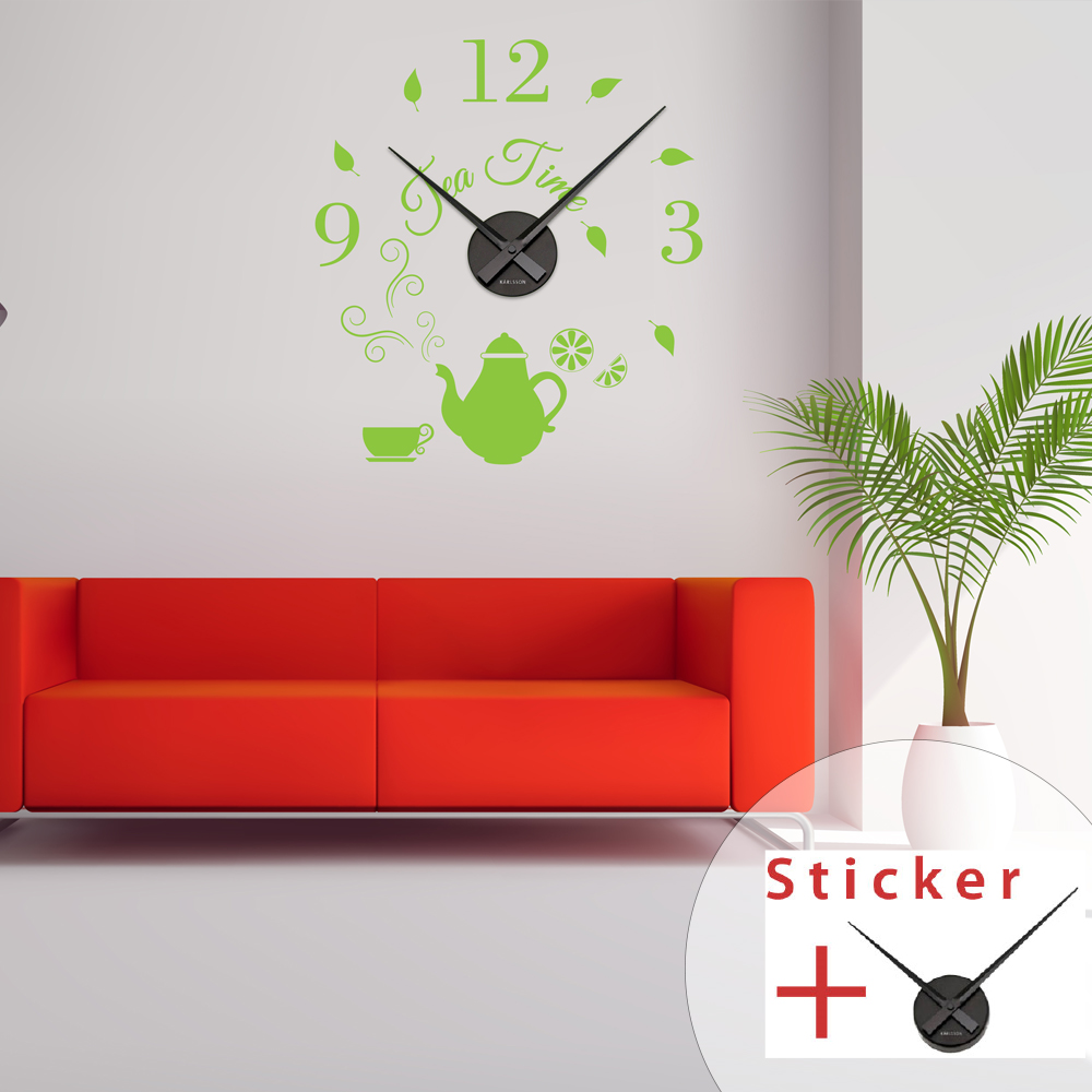 sticker horloge citation tea time cuisine design ambiance sticker. Black Bedroom Furniture Sets. Home Design Ideas