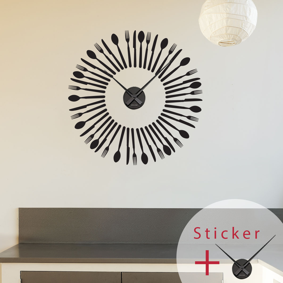 Sticker horloge couverts stickers d co horloges ambiance for Horloge couvert