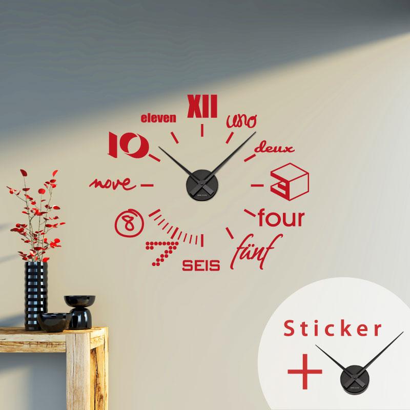 Horloge Chambre Ado : Sticker horloge design moderne chambre ado