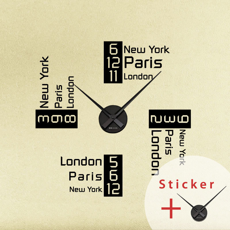 sticker horloge l 39 heure new york paris et londres sticker villes et voyages paris. Black Bedroom Furniture Sets. Home Design Ideas