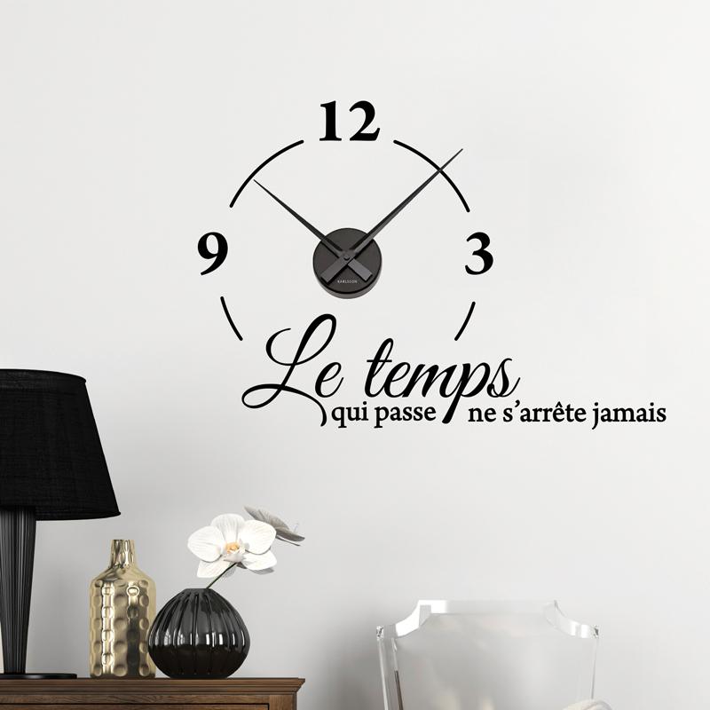good stickers muraux horloges le temps qui passe ne suarrte jamais with stickers muraux horloge. Black Bedroom Furniture Sets. Home Design Ideas