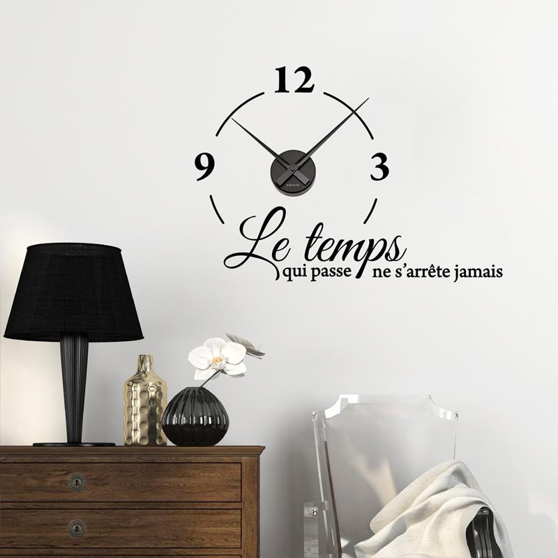 sticker horloge le temps qui passe ne s 39 arr te jamais stickers citations fran ais ambiance. Black Bedroom Furniture Sets. Home Design Ideas