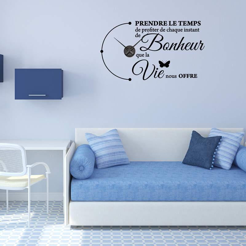 simple stickers muraux horloges prendre le temps with stickers muraux horloge geante. Black Bedroom Furniture Sets. Home Design Ideas