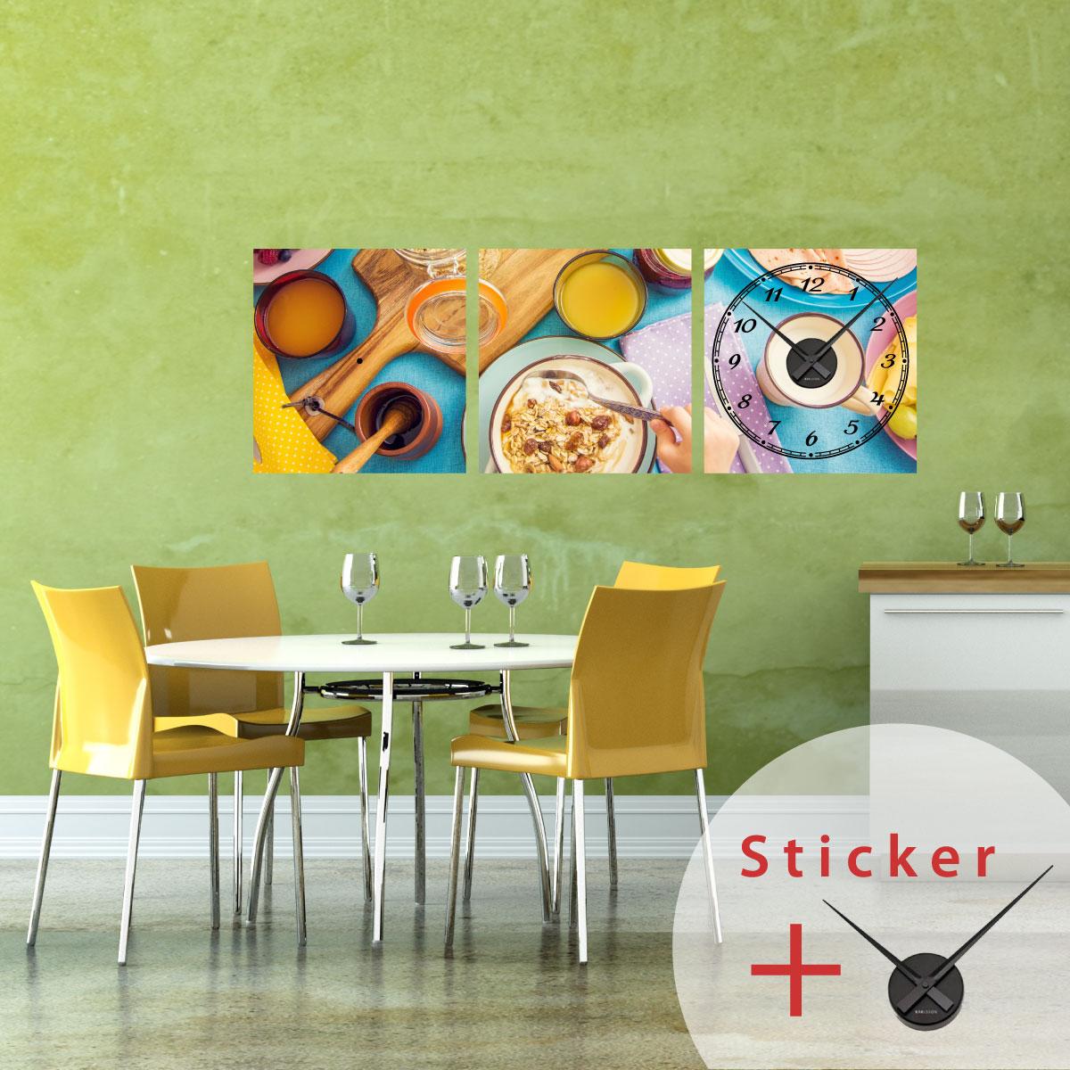Sticker horloge pr paration d 39 une recette de cuisine - Sticker mural cuisine ...