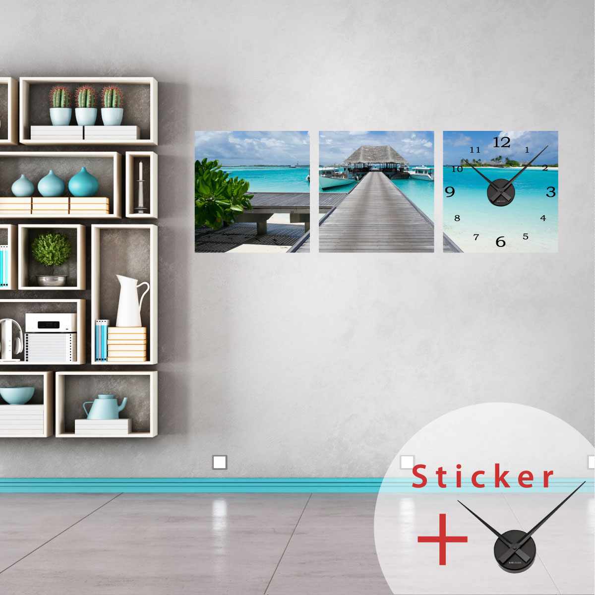 Sticker horloge vue sur une plage tropicale stickers for Plage stickers muraux