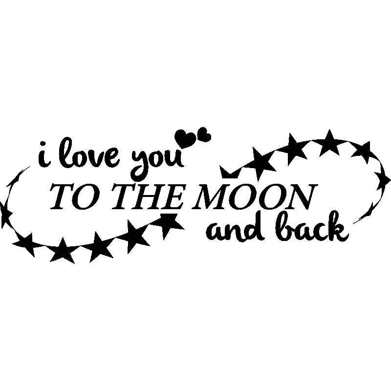 sticker i love you to the moon and back stickers f tes stickers saint valentin ambiance sticker. Black Bedroom Furniture Sets. Home Design Ideas
