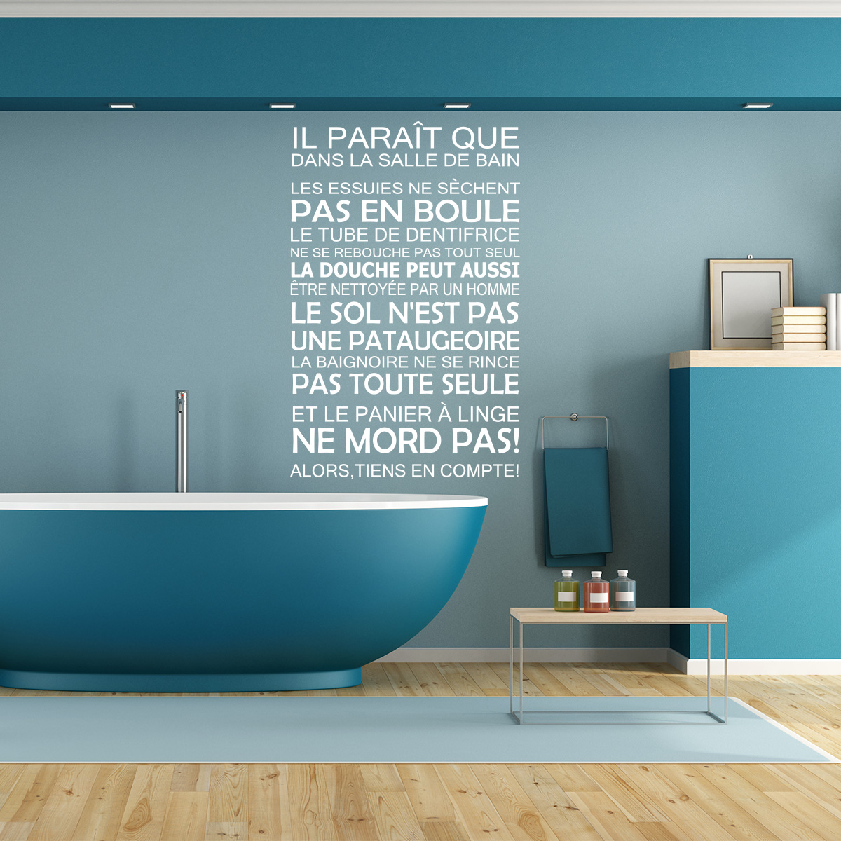 sticker il para t que dans la salle de bain stickers citations fran ais ambiance sticker. Black Bedroom Furniture Sets. Home Design Ideas