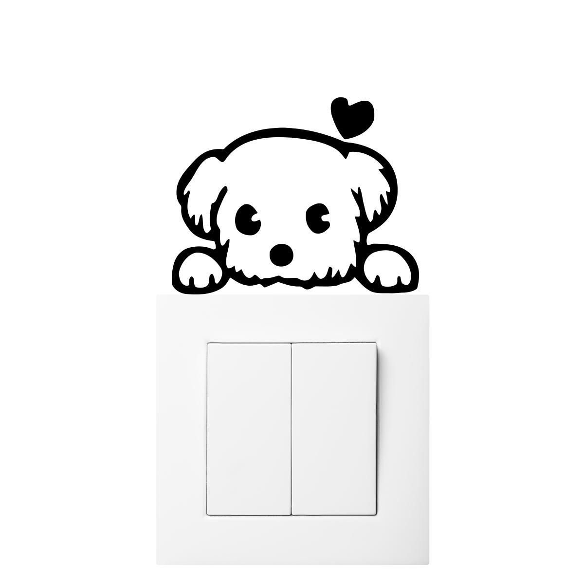 sticker interrupteur petit chiot amoureux stickers salle. Black Bedroom Furniture Sets. Home Design Ideas