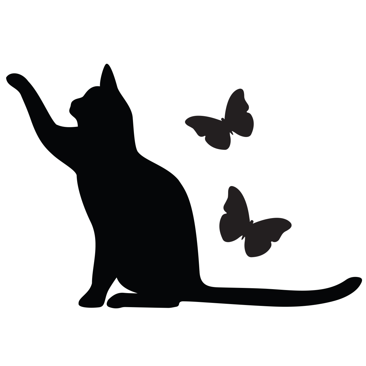 Sticker interrupteur prise chat et papillons stickers animaux papillons ambiance sticker - Chat noir dessin ...