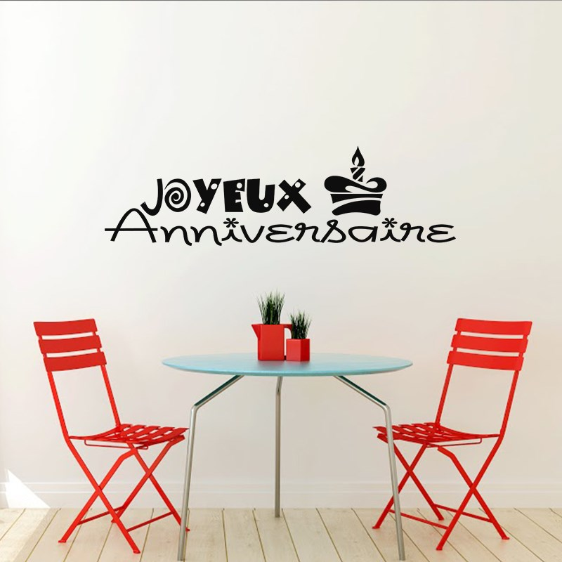 sticker joyeux anniversaire design stickers citations. Black Bedroom Furniture Sets. Home Design Ideas