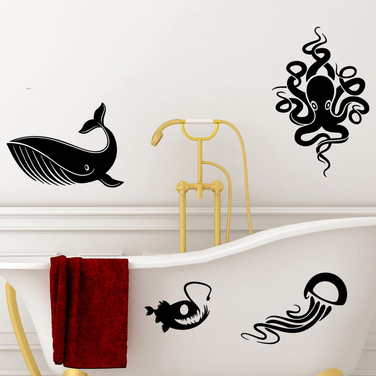 Stickers muraux pour salle de bain sticker mural kit for Stickers muraux