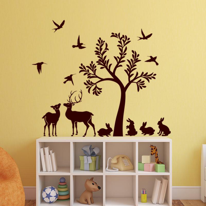 Sticker l 39 arbre et ses animaux stickers animaux oiseaux - Stickers muraux arbre ...